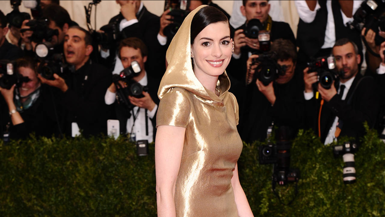 Anne Hathaway arrives at The Metropolitan Museum of Art's Costume Institute benefit gala.