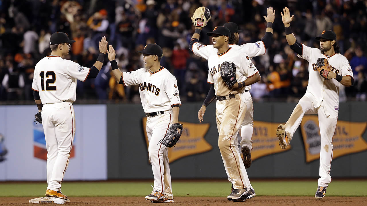 San Francisco Giants' Joe Panik, Nori Aoki, Justin Maxwell, Brandon Crawford