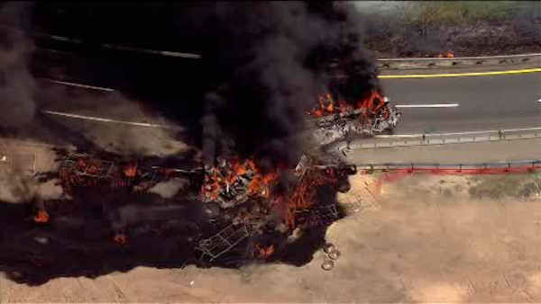 "<div class=""meta image-caption""><div class=""origin-logo origin-image none""><span>none</span></div><span class=""caption-text"">A tanker truck overturned and caught fire Tuesday on the New Jersey Turnpike in Woodbridge.</span></div>"