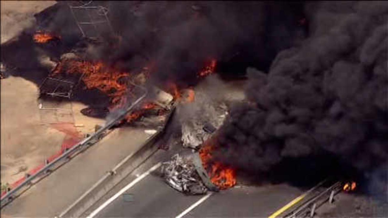 Tanker truck on fire on New Jersey Turnpike in Woodbridge