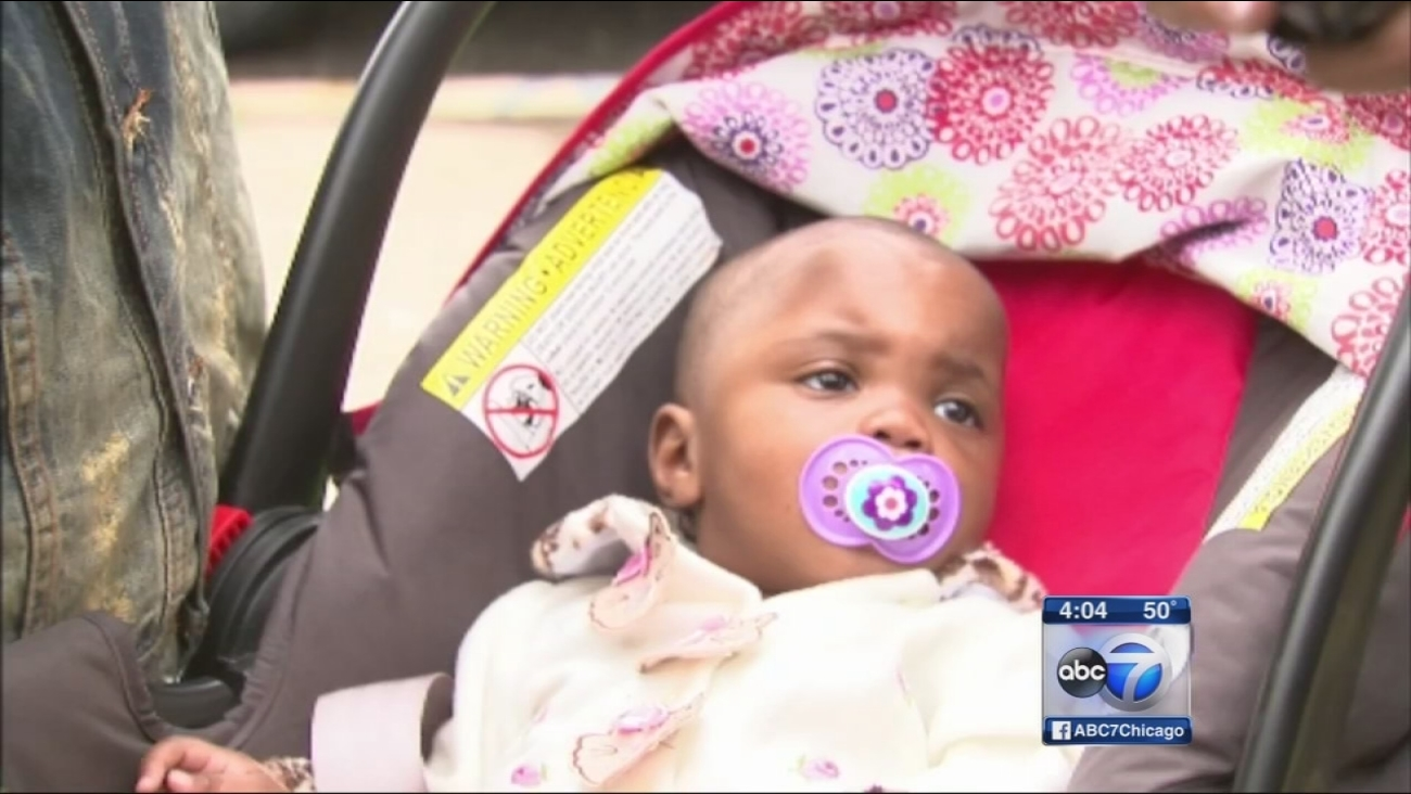 Baby struck by concrete block released from hospital