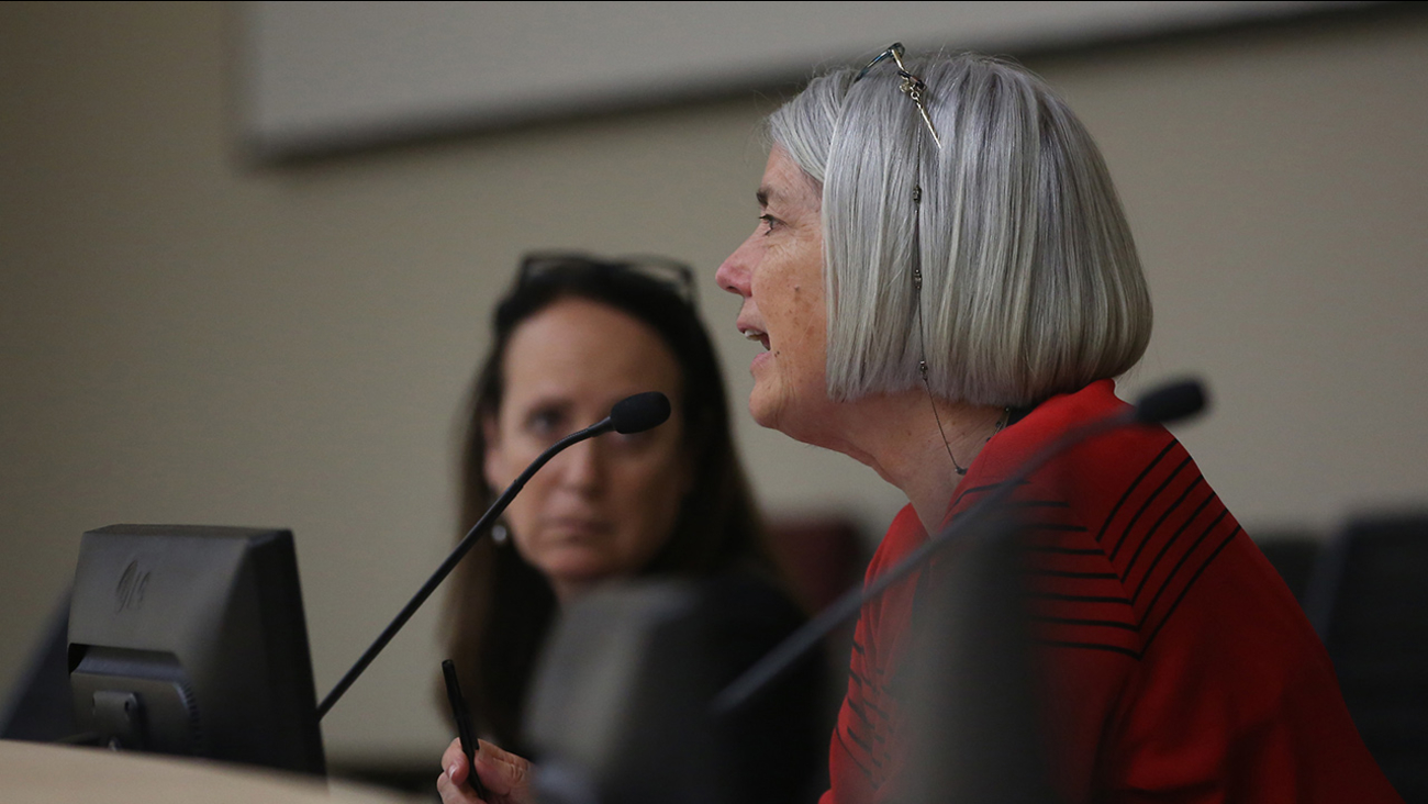 Frances Spivy-Weber, right, of the State Water Resources Control Board, discusses the proposed emergency regulations the board is considering, May 5, 2015.