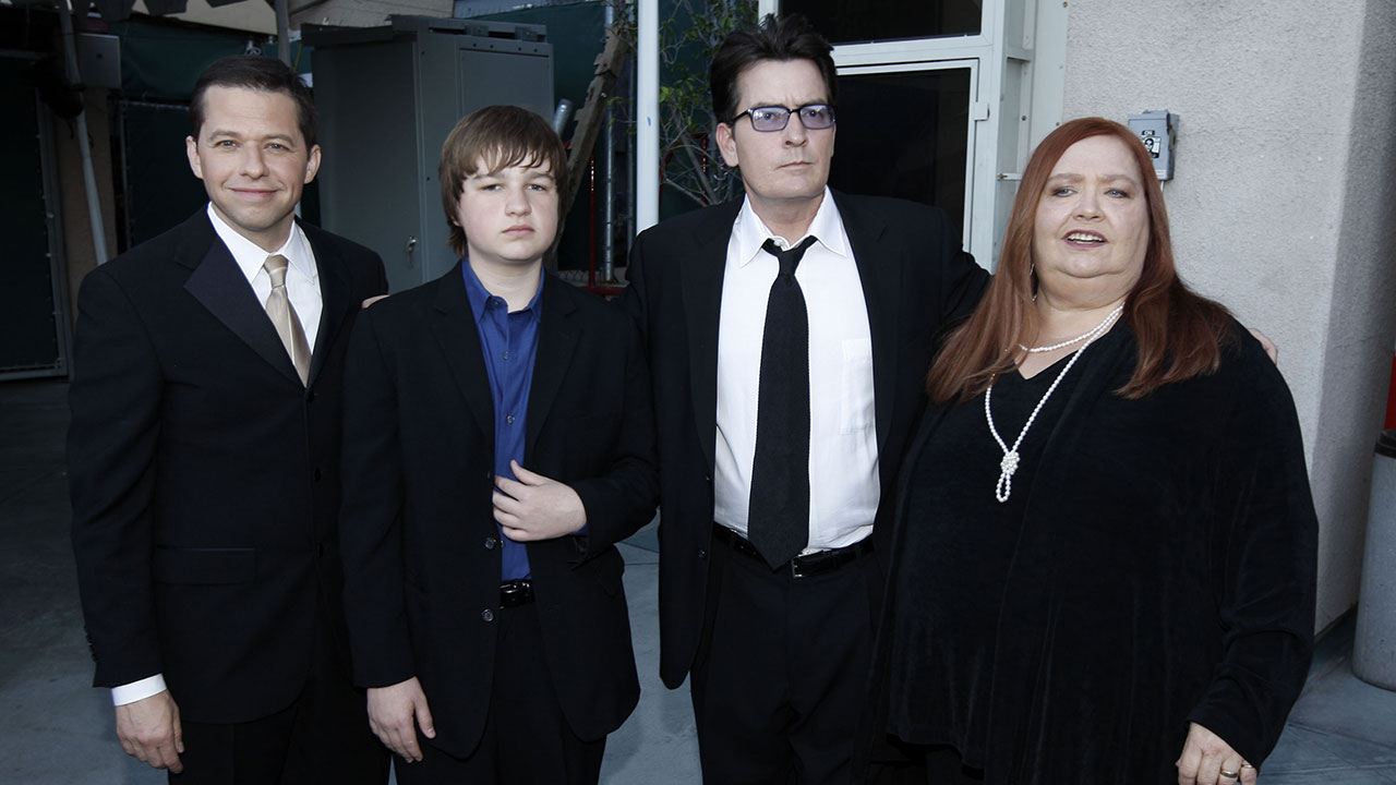 From left, Jon Cryer, Angus T. Jones, Charlie Sheen and Conchata Ferrell are seen backstage at the TV Land Awards on Sunday April 19, 2009 in Universal City, Calif.