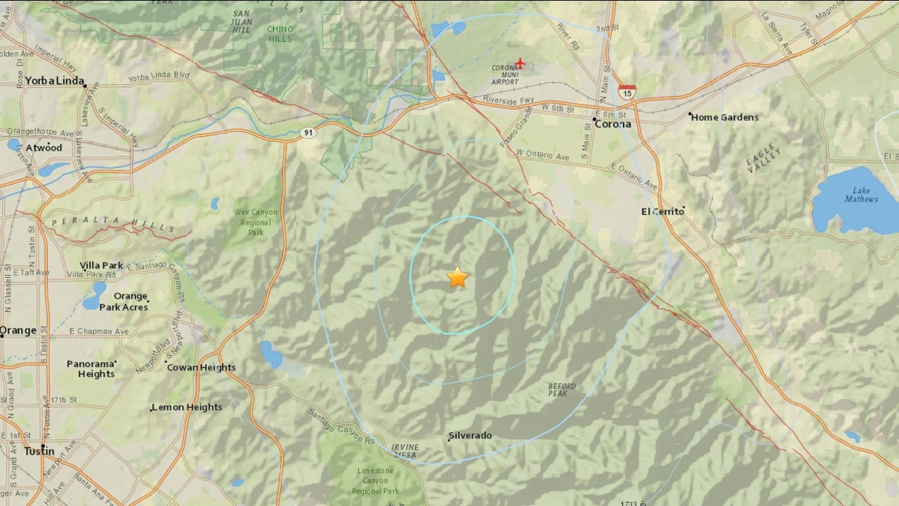 A 3.1-magnitude earthquake struck six miles southwest of Corona on Wednesday, May 6, 2015.