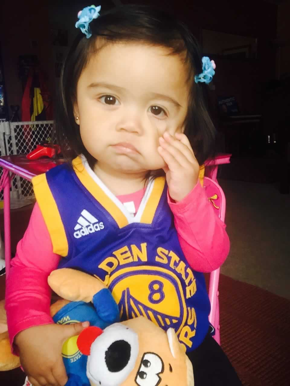 <div class='meta'><div class='origin-logo' data-origin='none'></div><span class='caption-text' data-credit='Photo submitted by Ritchielei via uReport'>Warriors fan Liela shows off her game face! Tag your photos on Facebook, Twitter, Google Plus, or Instagram using #DubsOn7!</span></div>