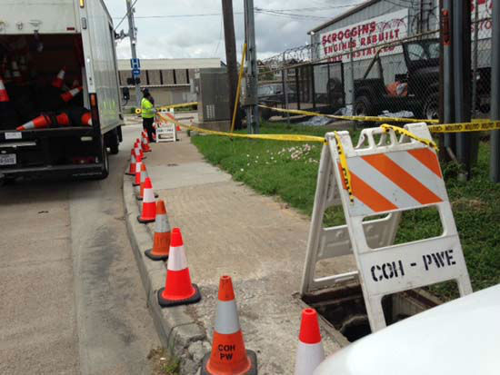 """<div class=""""meta image-caption""""><div class=""""origin-logo origin-image none""""><span>none</span></div><span class=""""caption-text"""">Construction seen in midtown after ABC-13 calls to the city about two open storm drains (KTRK Photo/ Kevin Quinn)</span></div>"""