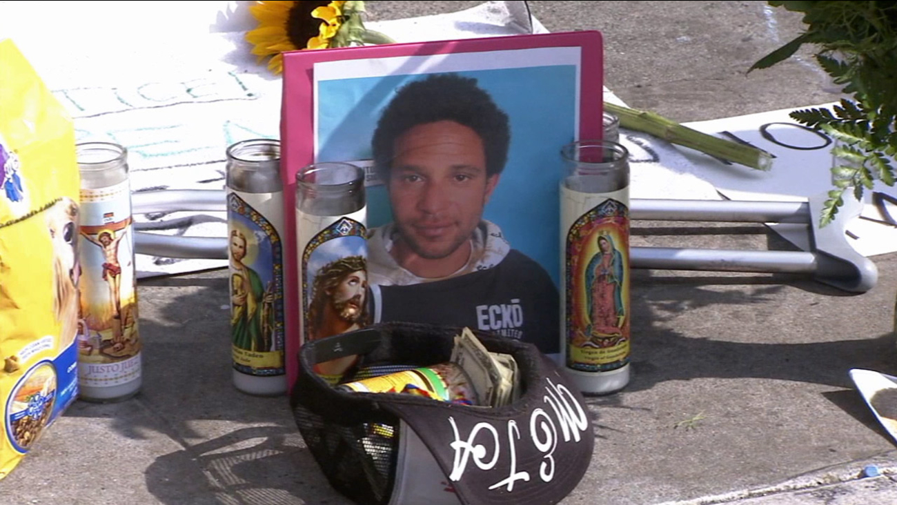 Brendon Glenn, 29, is shown in a photo placed at a makeshift memorial for him in Venice.
