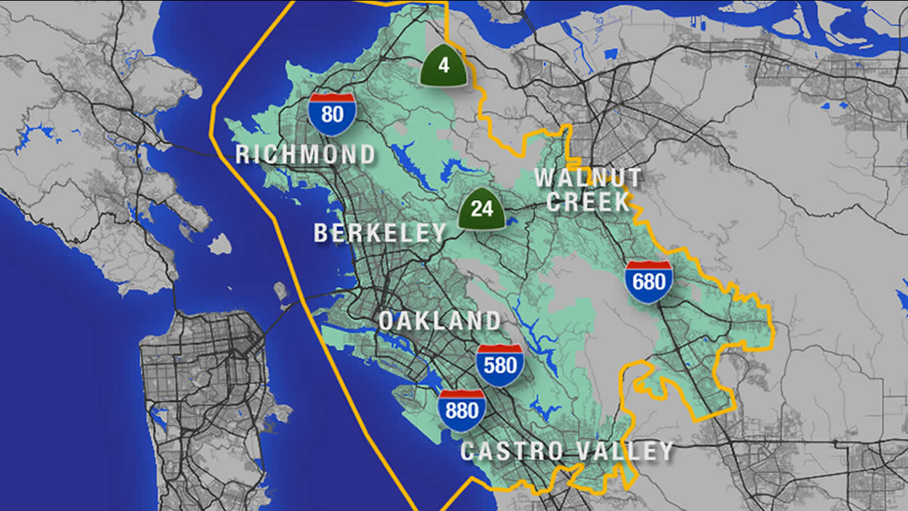 A map of the East Bay showing which parts will be affected by EBMUD's water change