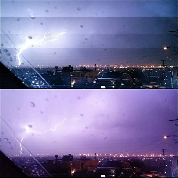 """<div class=""""meta image-caption""""><div class=""""origin-logo origin-image kabc""""><span>KABC</span></div><span class=""""caption-text"""">ABC7 viewer Alejandro Galvan shared this photo on Twitter of lightning in East Los Angeles on Friday, May 8, 2015. (ABC7 viewer Alejandro Galvan)</span></div>"""