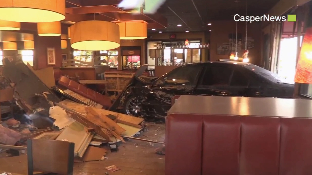An alleged DUI suspect crashed his vehicle into a Denny's restaurant in the 500 block of 4th Street in Perris Sunday, May 10, 2015.