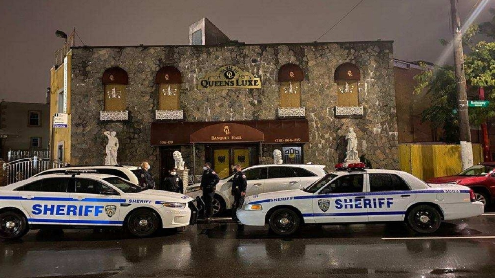 The New York City Sherriff's Department tweeted that it shut down an illegal gathering at the Queens Luxe Banquet Hall on Rockaway Boulevard in Ozone Park.