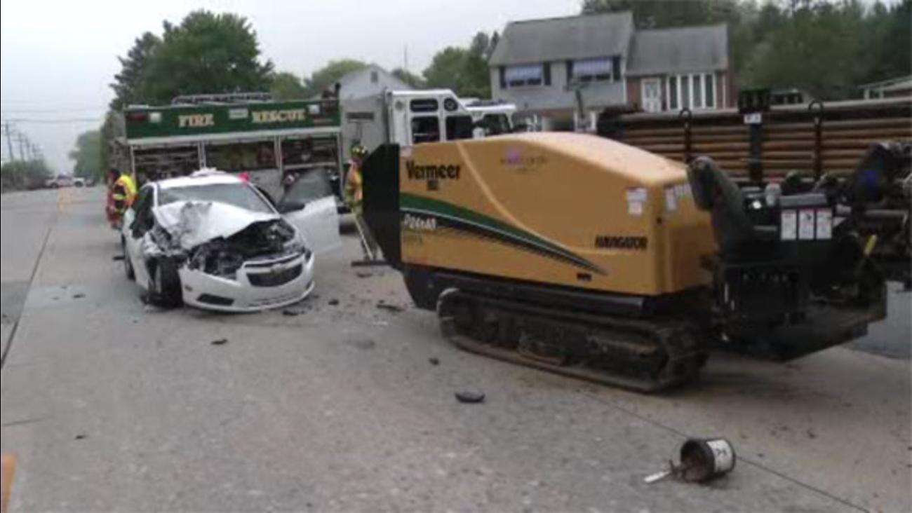 Car slams into construction equipment in Milltown, Del.