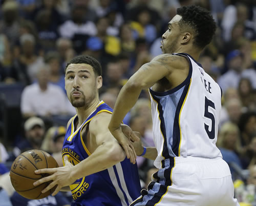 """<div class=""""meta image-caption""""><div class=""""origin-logo origin-image none""""><span>none</span></div><span class=""""caption-text"""">Golden State Warriors guard Klay Thompson (11) moves by Memphis Grizzlies guard Courtney Lee (5) in the first half of Game 4 of the NBA basketball Western Conference playoffs. (AP Photo/Mark Humphrey)</span></div>"""