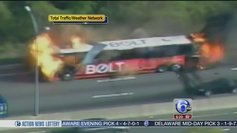 VIDEO: Bolt bus bursts into flames