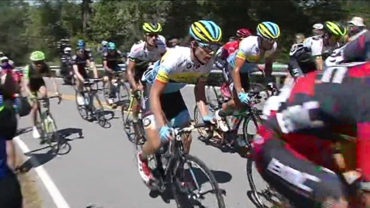 Cyclists participate in the Amgen Tour of California in San Jose, Calif. on May 12, 2015.