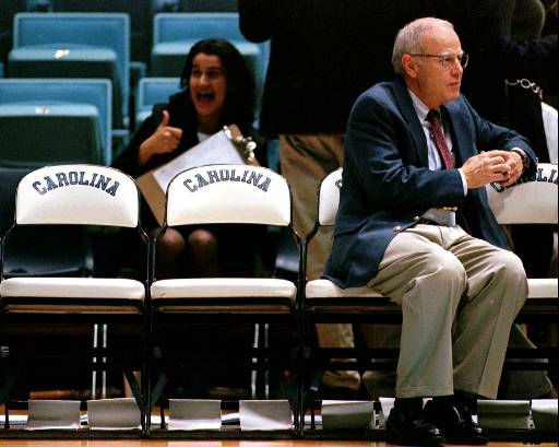 "<div class=""meta image-caption""><div class=""origin-logo origin-image none""><span>none</span></div><span class=""caption-text"">UNC coach Bill Guthridge sits alone on the bench before the start of the annual Blue-White Scrimmage Oct. 31, 1997. (AP Photo/Grant Halverson)</span></div>"