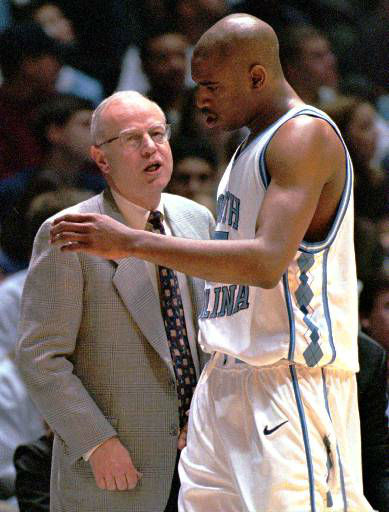 "<div class=""meta image-caption""><div class=""origin-logo origin-image none""><span>none</span></div><span class=""caption-text"">UNC coach Bill Guthridge, left, talks with Vince Carter during his team's 50-42 win over Princeton Dec. 13, 1997. (AP Photo/Bob Jordan)</span></div>"