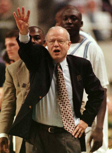 "<div class=""meta image-caption""><div class=""origin-logo origin-image none""><span>none</span></div><span class=""caption-text"">UNC head coach Bill Guthridge directs his team during the Tar Heels' 73-58 win over Michigan State in the NCAA East Regional semi-final in Greensboro, March 19, 1998. (AP Photo/Bob Jordan)</span></div>"