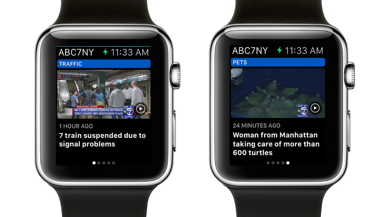 Stories appear on the ABC7 Apple Watch app.