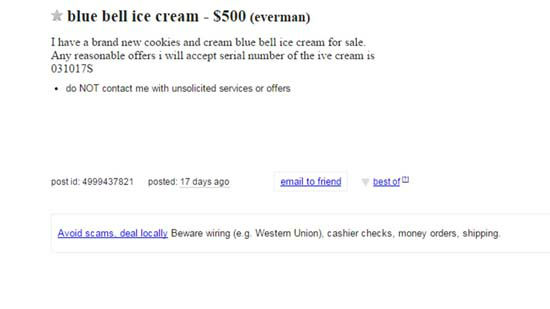 "<div class=""meta image-caption""><div class=""origin-logo origin-image none""><span>none</span></div><span class=""caption-text"">A Craigslist ad attempting to sell Blue Bell ice cream. WARNING: Ad may contain explicit language. (KTRK Photo/ Craigslist)</span></div>"