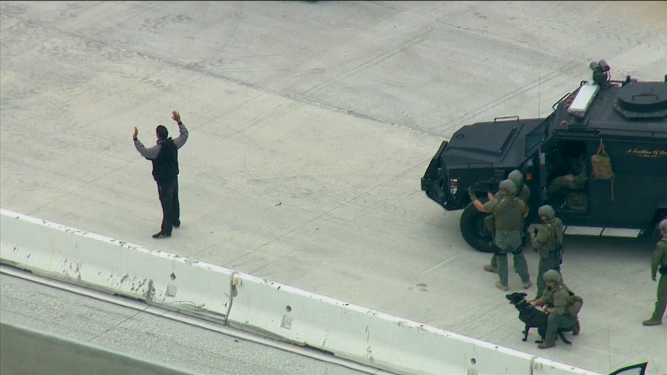 A suspect was taken into custody in a construction zone on the 710 Freeway on Thursday, May 14, 2015.
