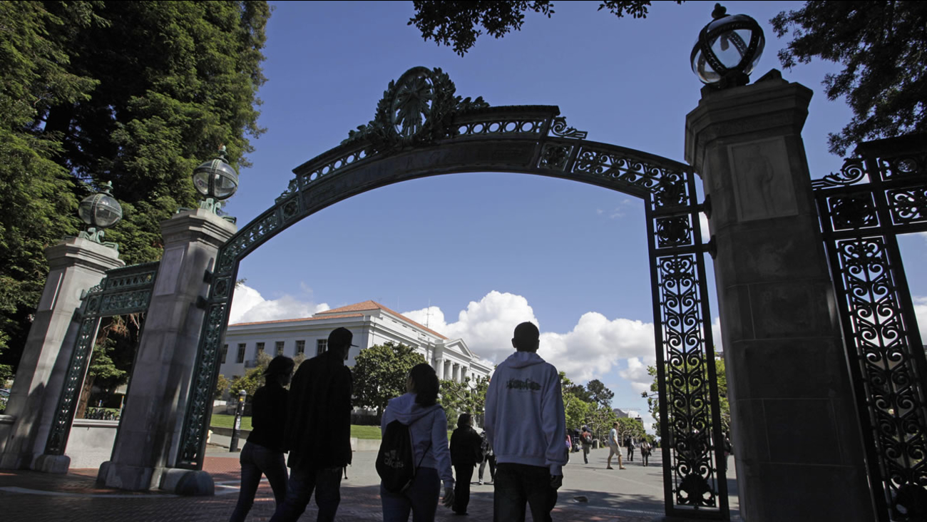Students walk through the Sather Gate on the University of California, Berkeley