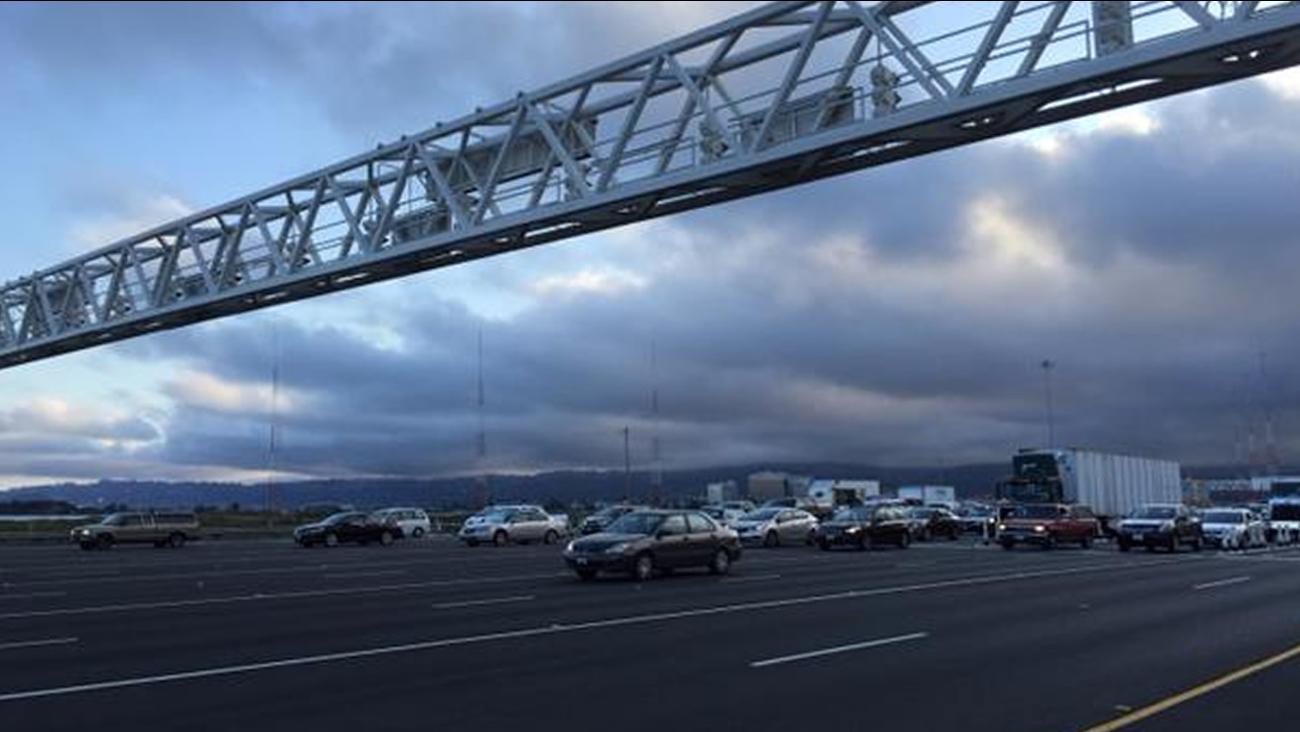 Cars headed towards the Bay Bridge toll plaza on Friday morning