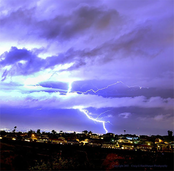 """<div class=""""meta image-caption""""><div class=""""origin-logo origin-image none""""><span>none</span></div><span class=""""caption-text"""">ABC7 viewer Craig G Harshbarger shared this photo on Instagram of lightning in Whittier Hills on Thursday night. (KABC Photo/ Craig G Harshbarger)</span></div>"""