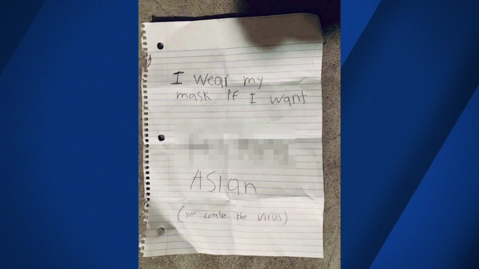 abc7news.com: 'You create the virus': Asian woman targeted with 'racially motivated' vandalism, letter left at San Francisco home