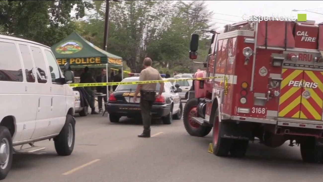 Riverside County sheriff's deputies investigate a fatal shooting in the 140 block of Metz Road in Perris Saturday, May 16, 2015.