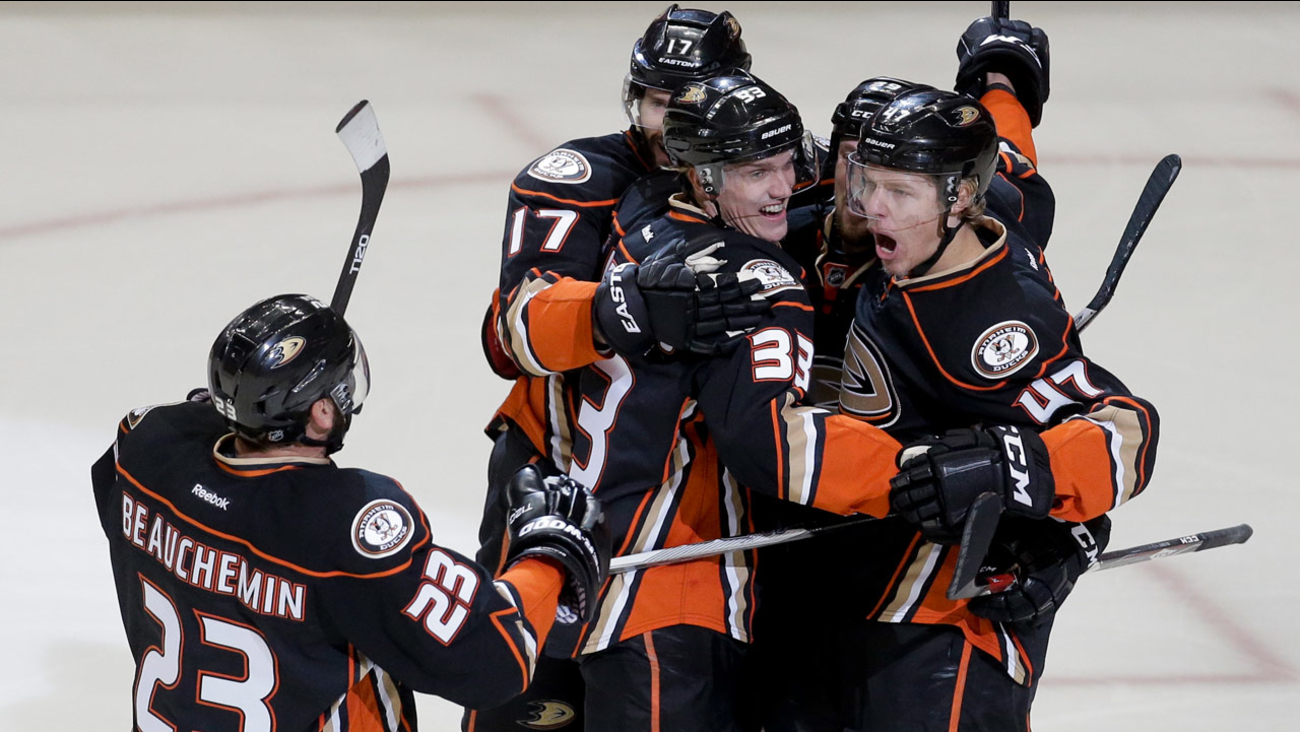 Anaheim Ducks defenseman Hampus Lindholm celebrates after scoring against the Chicago Blackhawks in Game 1 of the west final in the NHL Stanley Cup playoffs on May 17, 2015.