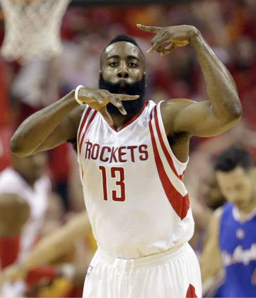 "<div class=""meta image-caption""><div class=""origin-logo origin-image none""><span>none</span></div><span class=""caption-text"">Houston Rockets guard James Harden (13) celebrates against the Los Angeles Clippers during the first half in Game 7 (AP Photo/ David J. Phillip)</span></div>"