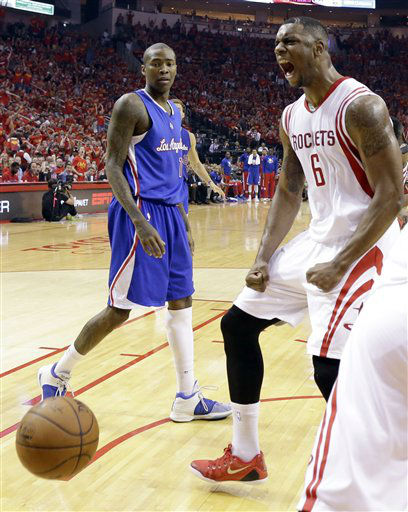 "<div class=""meta image-caption""><div class=""origin-logo origin-image none""><span>none</span></div><span class=""caption-text"">Houston Rockets forward Terrence Jones (6) celebrates as Los Angeles Clippers guard Jamal Crawford (11) looks during the first half in Game 7 (AP Photo/ David J. Phillip)</span></div>"