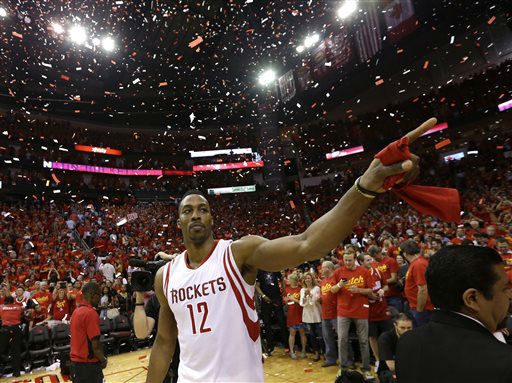 "<div class=""meta image-caption""><div class=""origin-logo origin-image none""><span>none</span></div><span class=""caption-text"">Houston Rockets' Dwight Howard (12) celebrates after beating the Los Angeles Clippers 113-100 in Game 7 (AP Photo/ David J. Phillip)</span></div>"