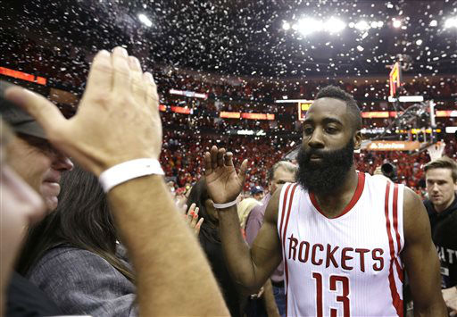 "<div class=""meta image-caption""><div class=""origin-logo origin-image none""><span>none</span></div><span class=""caption-text"">Houston Rockets' James Harden (13) celebrates after defeating the Los Angeles Clippers 113-100 in Game 7 (AP Photo/ David J. Phillip)</span></div>"