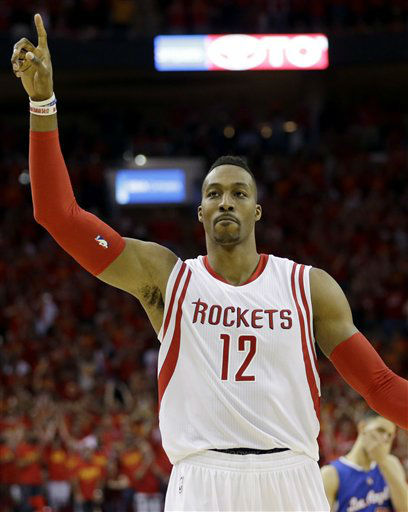 "<div class=""meta image-caption""><div class=""origin-logo origin-image none""><span>none</span></div><span class=""caption-text"">Houston Rockets center Dwight Howard (12) celebrates during final minutes in Game 7 (AP Photo/ David J. Phillip)</span></div>"