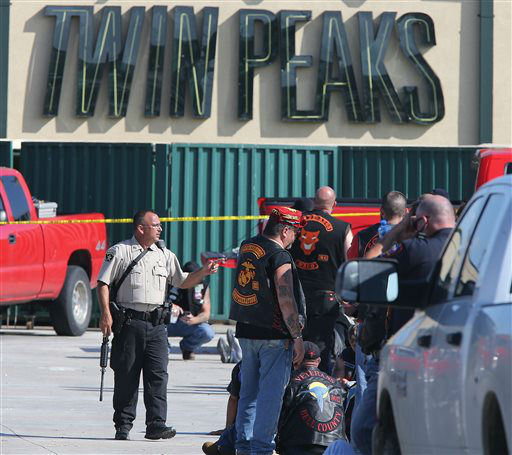 """<div class=""""meta image-caption""""><div class=""""origin-logo origin-image none""""><span>none</span></div><span class=""""caption-text"""">Authorities investigate a shooting in the parking lot of the Twin Peaks restaurant Sunday, May 17, 2015, in Waco, Texas. (AP Photo/ Jerry Larson)</span></div>"""