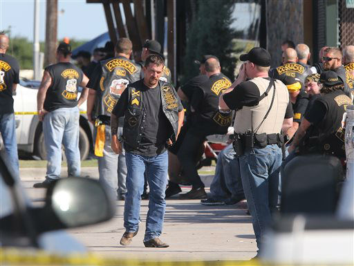 """<div class=""""meta image-caption""""><div class=""""origin-logo origin-image none""""><span>none</span></div><span class=""""caption-text"""">People stand as officers investigate a shooting in the parking lot of the Twin Peaks restaurant Sunday, May 17, 2015, in Waco, Texas (AP Photo/ Jerry Larson)</span></div>"""