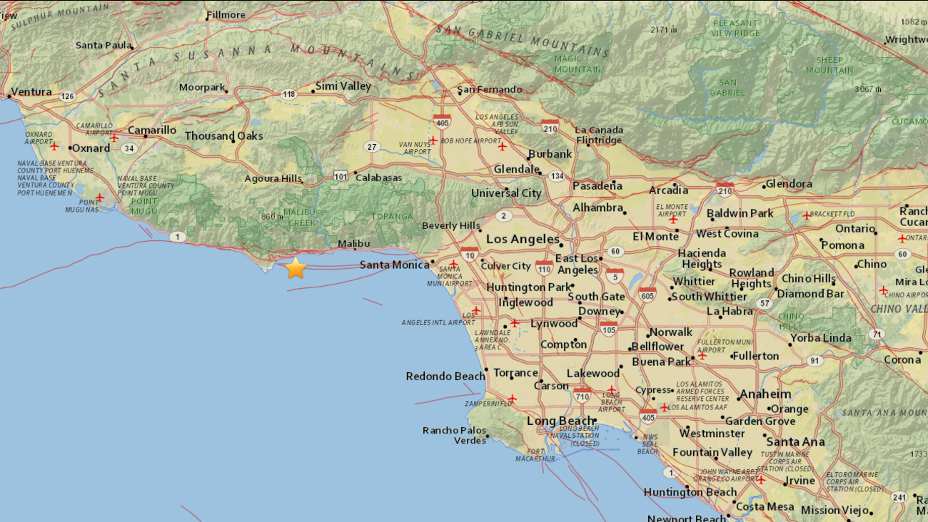 A 2.6-magnitude earthquake struck two miles southeast of Malibu Sunday, May 17, 2015.