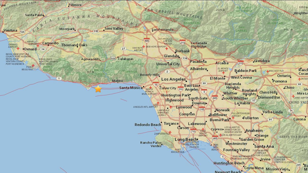 A 2.6-magnitude earthquake struck two miles southeast of Malibu Sunday, May 17, 2015.