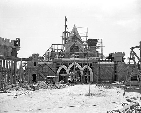 "<div class=""meta image-caption""><div class=""origin-logo origin-image none""><span>none</span></div><span class=""caption-text"">The rear of Sleeping Beauty Castle takes shape. The 77-foot tall castle is the centerpiece of Disneyland park and has inspired unique Magic Kingdom parks around the world. (Disneyland Resort/ABC News)</span></div>"