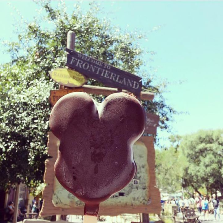 """<div class=""""meta image-caption""""><div class=""""origin-logo origin-image none""""><span>none</span></div><span class=""""caption-text"""">Get the Mickey Mouse ice cream!  ABC7 News viewers and staff are celebrating Disneyland's 60 years of magic by sharing photos of themselves at the park. (Photo sent to KGO-TV by Shari S./Twitter)</span></div>"""