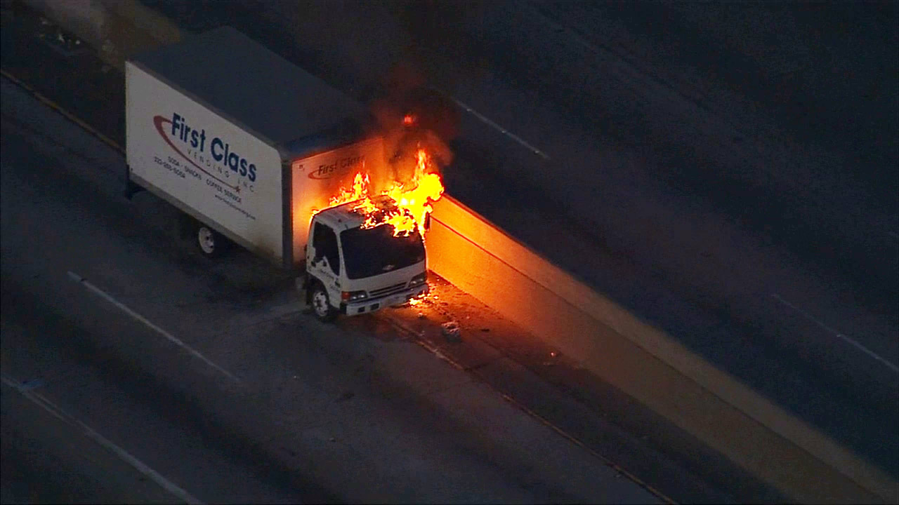 A truck fire snarled the morning commute on the northbound 710 Freeway in the Commerce area on Tuesday, May 19, 2015.