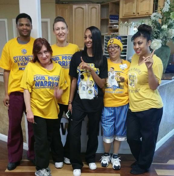 <div class='meta'><div class='origin-logo' data-origin='none'></div><span class='caption-text' data-credit='Photo submitted to KGO-TV by @ScreenGrafix/Twitter'>The Lafayette Care Center nurses show off their Warriors colors! Tag your photos on Facebook, Twitter, Google Plus, or Instagram using #DubsOn7.</span></div>