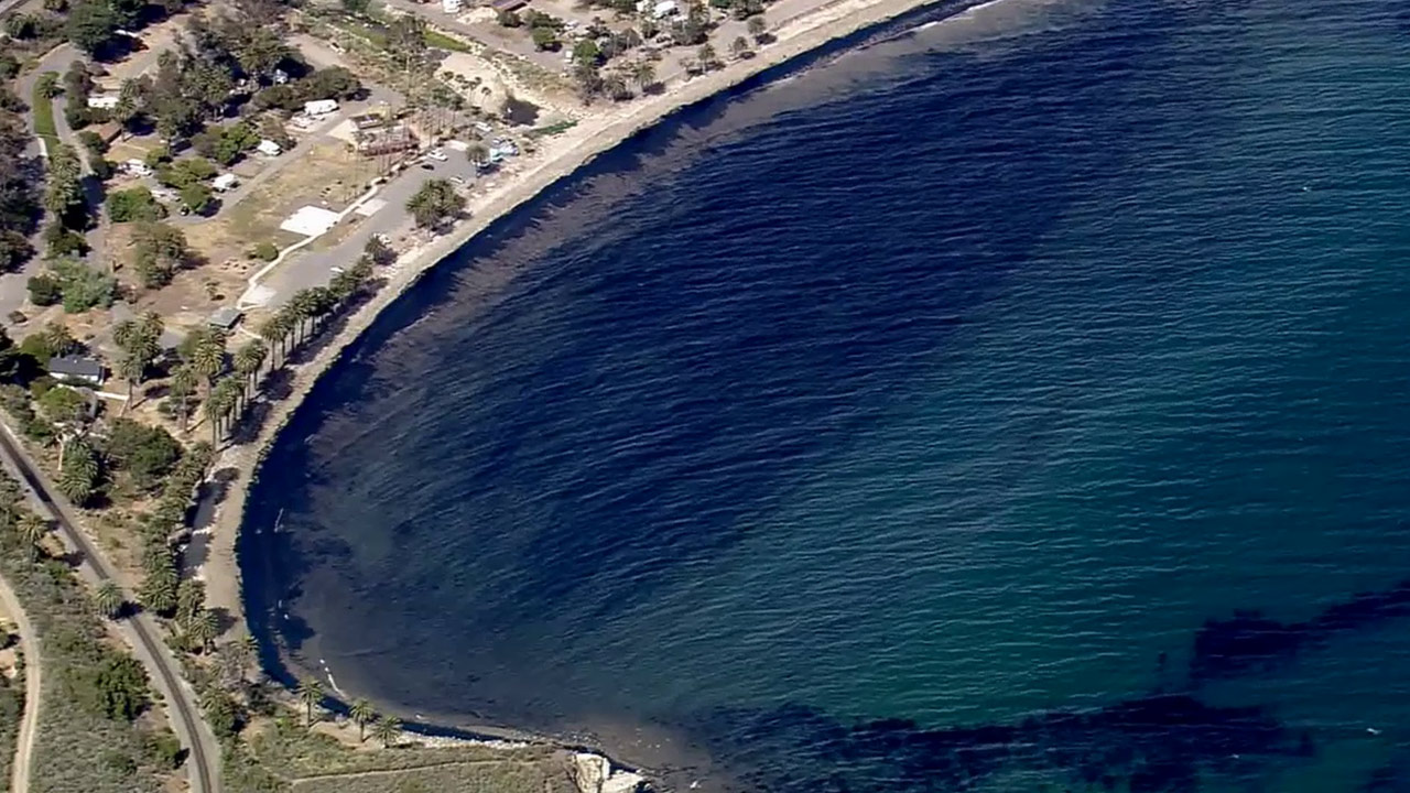 An oil spill was reported at Refugio State Beach, about 20 miles west of Santa Barbara, Tuesday, May 19, 2015.