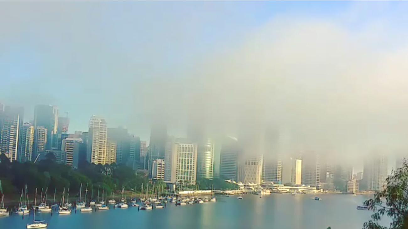 Fog over the Brisbane River.