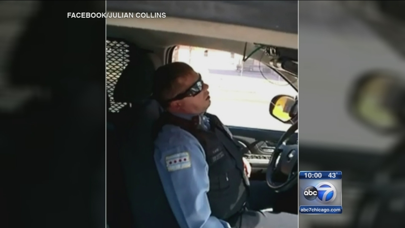 Chicago cop sleeping on the job?