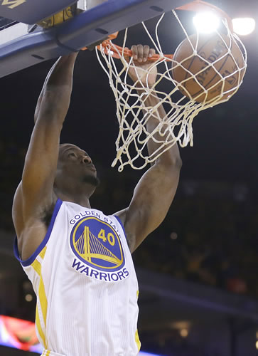 """<div class=""""meta image-caption""""><div class=""""origin-logo origin-image none""""><span>none</span></div><span class=""""caption-text"""">Golden State Warriors forward Harrison Barnes dunks against the Houston Rockets during the second half of Game 1 of the NBA basketball Western Conference finals in Oakland, Calif. (AP Photo/Tony Avelar)</span></div>"""