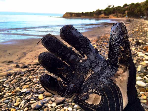 "<div class=""meta image-caption""><div class=""origin-logo origin-image kabc""><span>KABC</span></div><span class=""caption-text"">ABC7 reporter Christina Salvo holds up a glove covered in crude oil at Refugio State Beach on Wednesday, May 20, 2015. (Edgar Alcala)</span></div>"