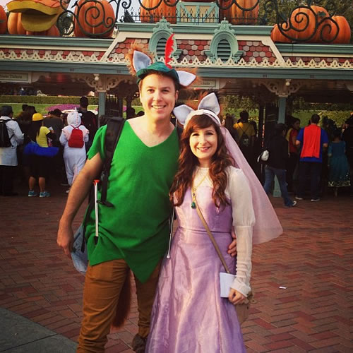"""<div class=""""meta image-caption""""><div class=""""origin-logo origin-image none""""><span>none</span></div><span class=""""caption-text"""">These are fantastic Robin Hood and Maid Marian costumes! ABC7 News viewers and staff are celebrating Disneyland's 60 years of magic by sharing photos of themselves at the park. (Photo submitted to KGO-TV by shleaz/Instagram)</span></div>"""